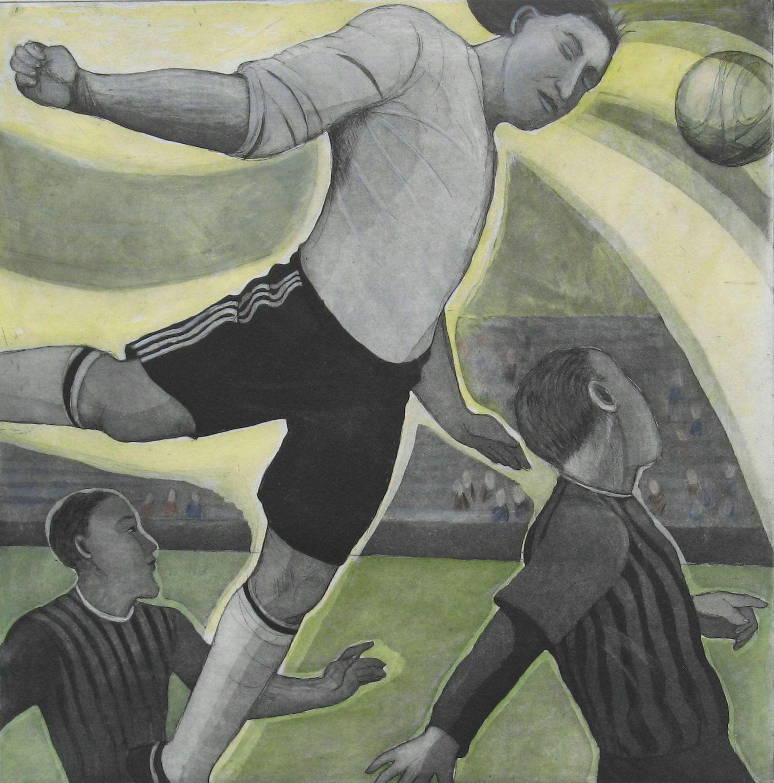 Football Angel Etching and colour Print | Sandra Millar